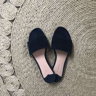 Tony Bianca Navy Suede Slides Sandals