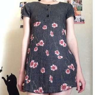 Vintage Floral Check Dress