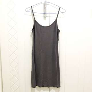 全新 歐美細肩帶灰色棉洋裝 彈性 顯瘦 Xs S M Zara Gap H&M A&F 深灰色