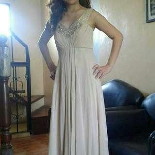 Elegant Long Gown Mocha Size Small