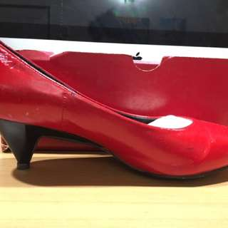 Kitten Heel Leather Red Shoes