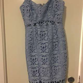 Kookai Poppy Blue Lace Dress Size 40 BNWT