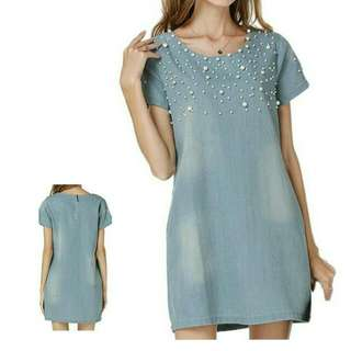 Denim Dress with Pearl Beads