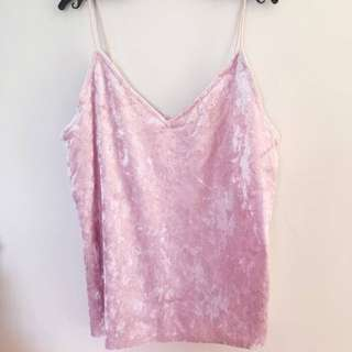 Pink Velvet Halter Singlet