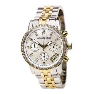 Michael Kors Ritz Chronograph Tri Tone Women's Midsize Watch-MK5650