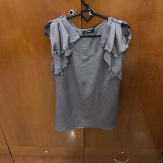 Grey Fluffy Tank ( All Size, Fit To S-L)