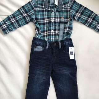 Baby GAP long sleeve bodysuit and jeans BNWT
