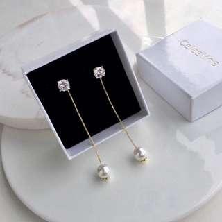 Celestine 珍珠長鍊耳環