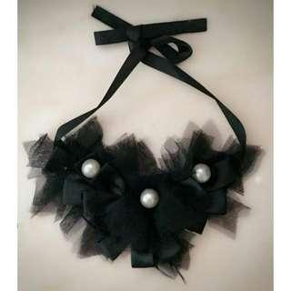 100%new 韓國飾物 黑色蕾絲珍珠頸鏈