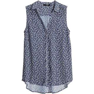 H&M Chiffon Collared Sleeveless Top