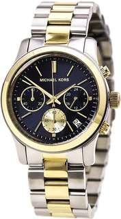 Michael Kors Runway Chronograph - Two Tone Silver Gold Gold Navy Blue Dial Women's Midsize Watch-MK6165