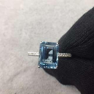全新18K白金1.30克拉海藍寶石19份天然鑽石戒指