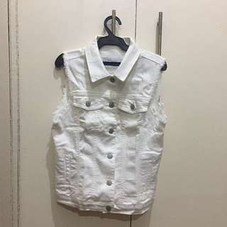 Zara Basic - White Denim Vest