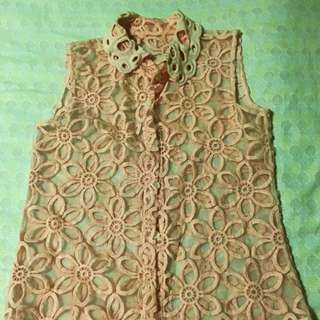 Pink Sleeveless Lace Top