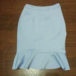 Zalora Blue Midi Flare Skirt