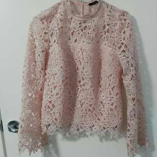 Pink Lace Long Sleeve Top Size 8