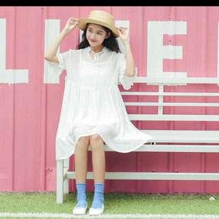 #全新#雪紡甜美兩件式洋裝 白