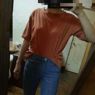 實穿~橘紅色素色無印短袖上衣