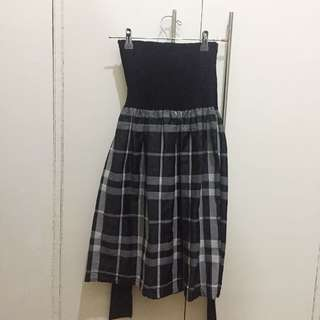 Zara Basic - Dress With Plaid Skirt