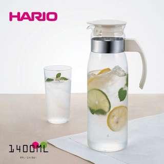日本製 HARIO 直立式耐熱玻璃瓶 1400ml 玻璃壺 冷水壺 冷泡茶壺(白色,深藍-台灣限定版)