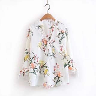 INSTOCK / FLORAL PRINTED V NECK SHIRT BLOUSE