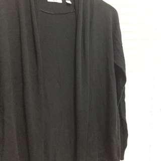 二手 日本品牌 UNIQLO 經典黑色 針織長袖 外套 罩衫