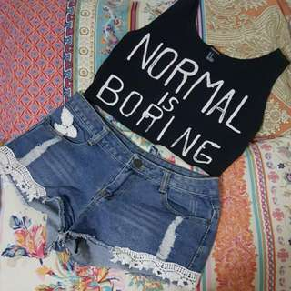 Forever 21 Cropped Tank + Lace Denim Shorts