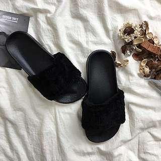 [PO] Black Fluff Slip-ons