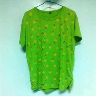 草綠色 鳳梨圖案T恤