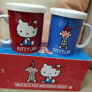 Hello Kitty Lab 絕版陶瓷杯連蓋一套兩個