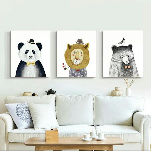 套裝☆多款☆新品上市■無框畫■壁畫布畫掛畫/客廳牆壁臥室玄關店面裝飾/簡約現代藝術歐風壁貼室內設計裝潢佈置。[動物系列]熊貓北極熊兔子小豬獅子