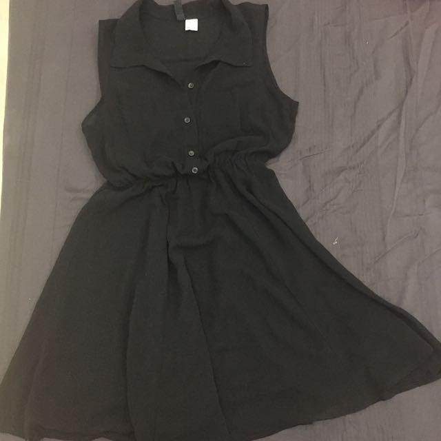 雪紡紗黑色洋裝