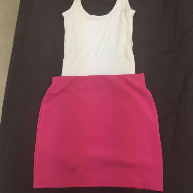桃紅/黑色 包臀窄裙