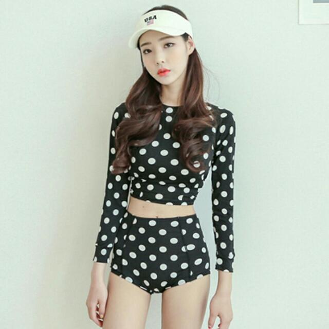 韓國可愛點點水母衣 長袖泳裝