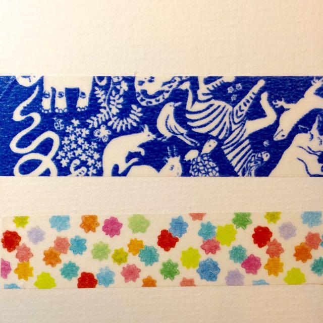 青色動物 金平糖 紙膠帶
