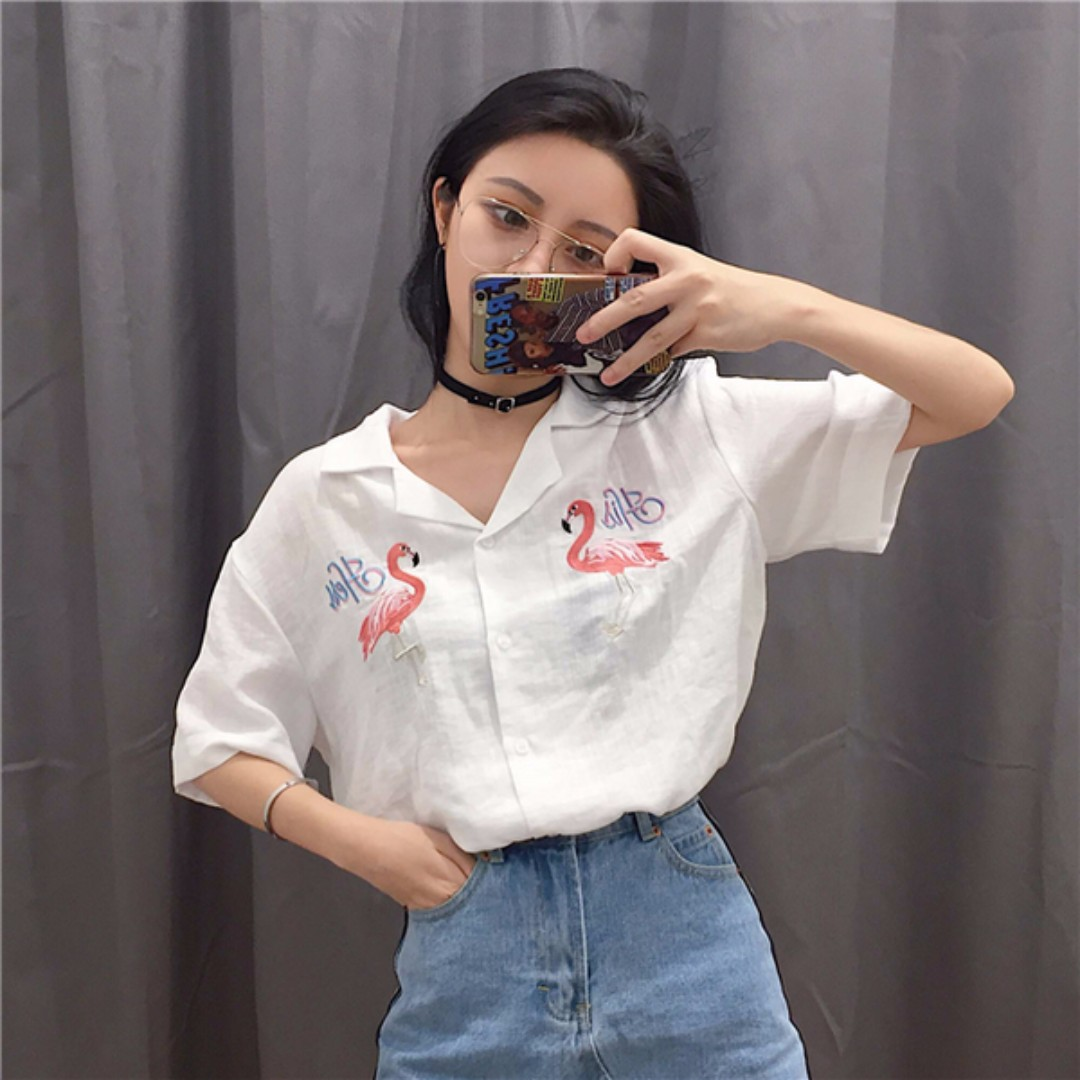 刺繡 紅鶴 棉麻襯衫