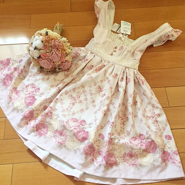 日本專櫃正品 Liz Lisa 馬車花朵圖案綁帶洋裝