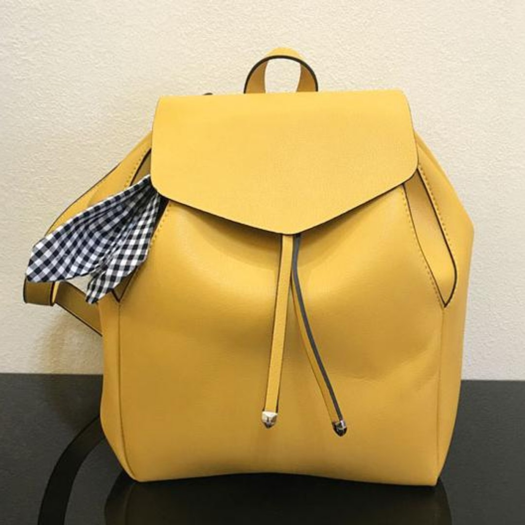 25058510876 Authentic Zara flap backpack with scarf (yellow), Women's Fashion, Bags &  Wallets on Carousell