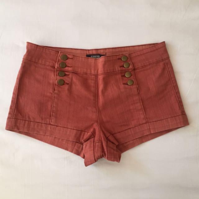 Brown High Waist Shorts