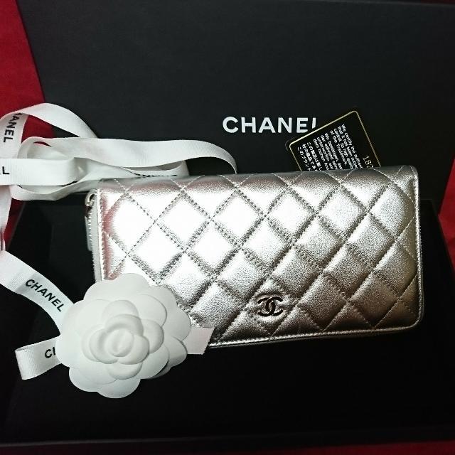 Chanel銀色長夾