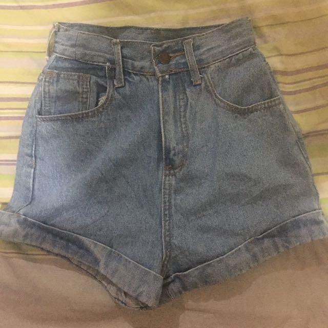 Denim highwaisted Cuff Shorts