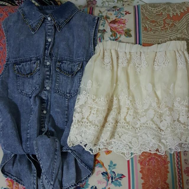 Denim Top + Lace Skirt