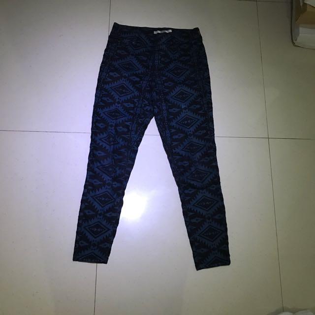 Dorothy Perkins Navy Black Pattern 🔹Denim Jeans Size 8