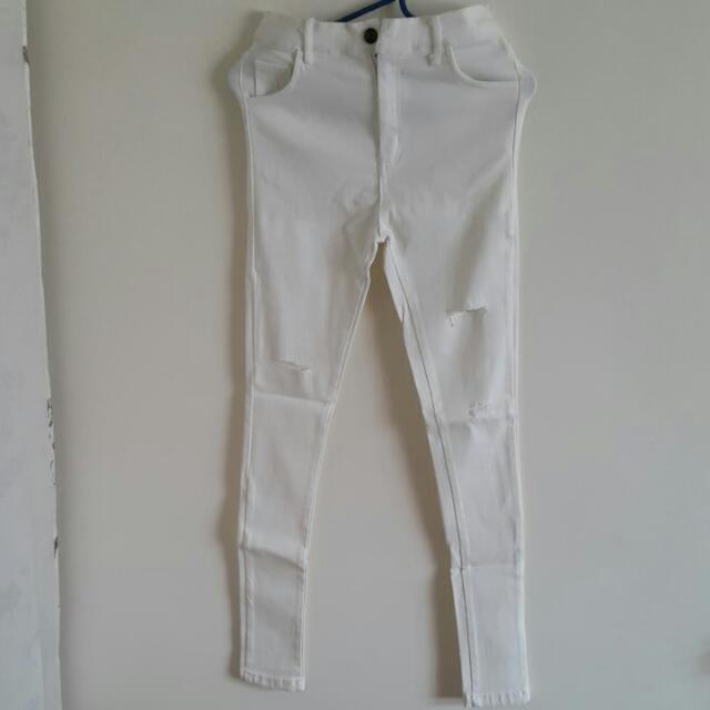 DP超彈性白色破褲(L)