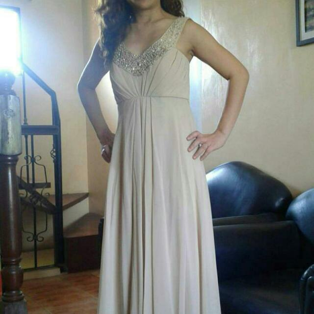Elegant Long Gown Mocha Size Small