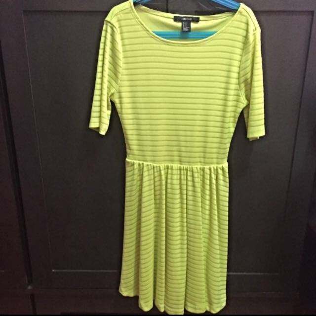 a11972b7acb3 Forever 21 Neon Yellow Green Skater Dress
