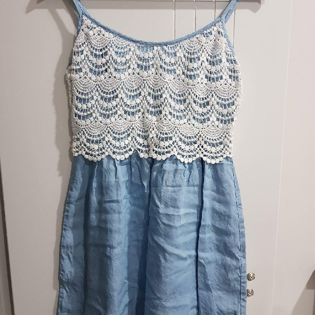 Forever New | (Size 8) | Denim Lace Dress