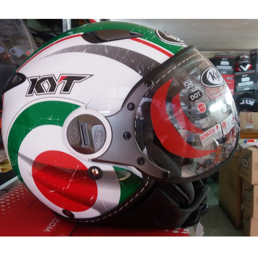 Helm Retro Bogo Classic Vintage Kyt Elsico Italian White Red Green Cantik Half Face Auto Accessories On Carousell