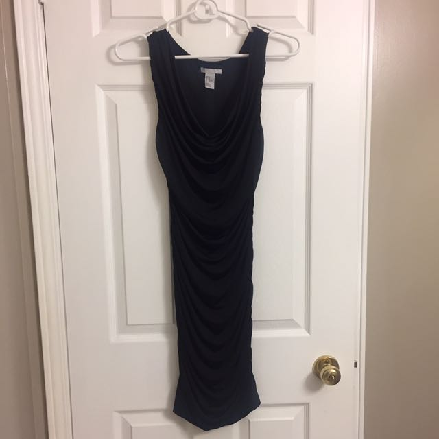 H&M Black Ruched Bodycon Dress