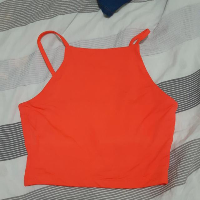 Kookai Orange Fluro Crop Top